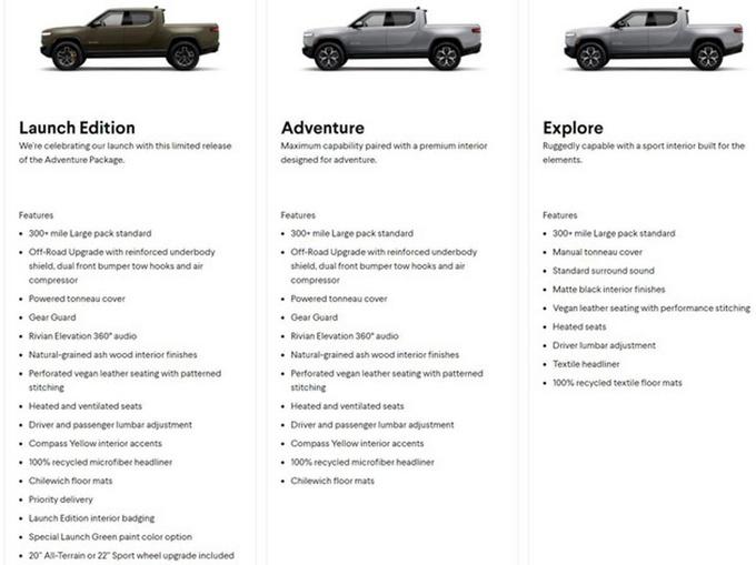电动皮卡车Rivian R1T售价公布,最早明年6月正式上市